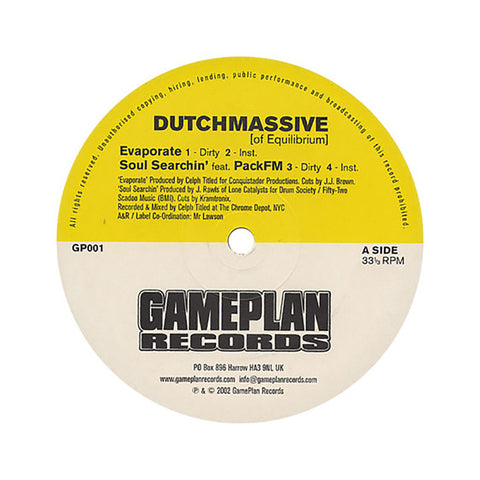 "Dutchmassive - 'Evaporate/ Soul Searchin'/ The Hook' [(Black) 12"""" Vinyl Single]"
