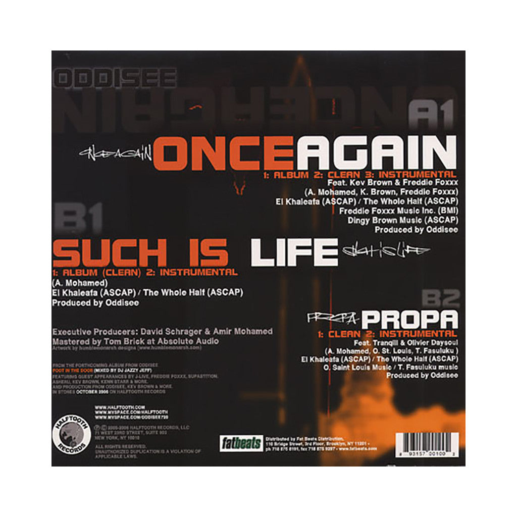 "<!--020060912008009-->Oddisee - 'Once Again/ Such Is Life/ Propa' [(Black) 12"""" Vinyl Single]"