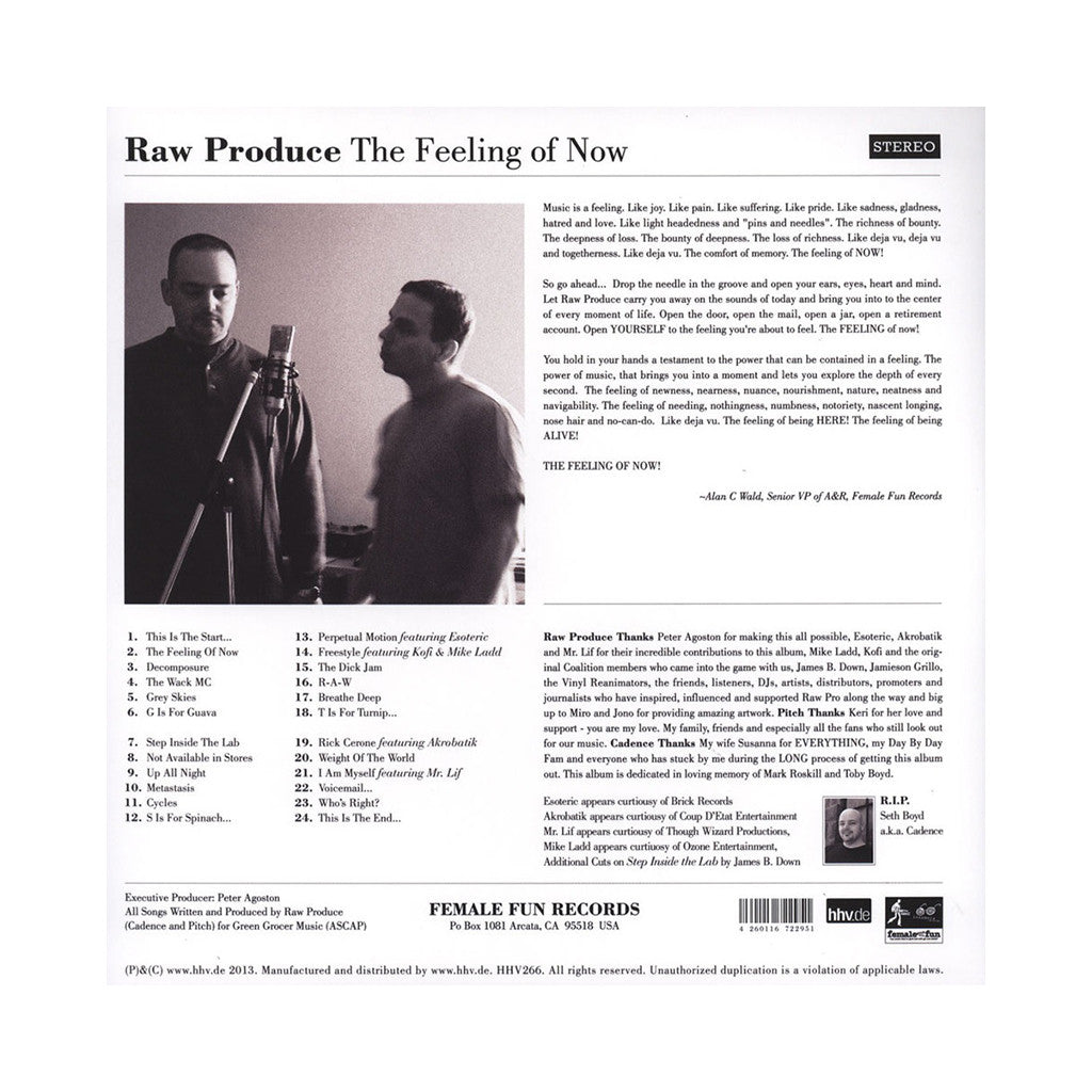 Raw Produce - 'The Feeling Of Now' [(Black) Vinyl [2LP]]