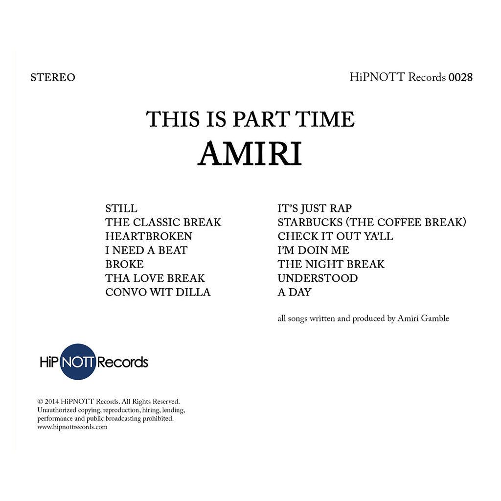Amiri - 'This Is Part Time' [CD]