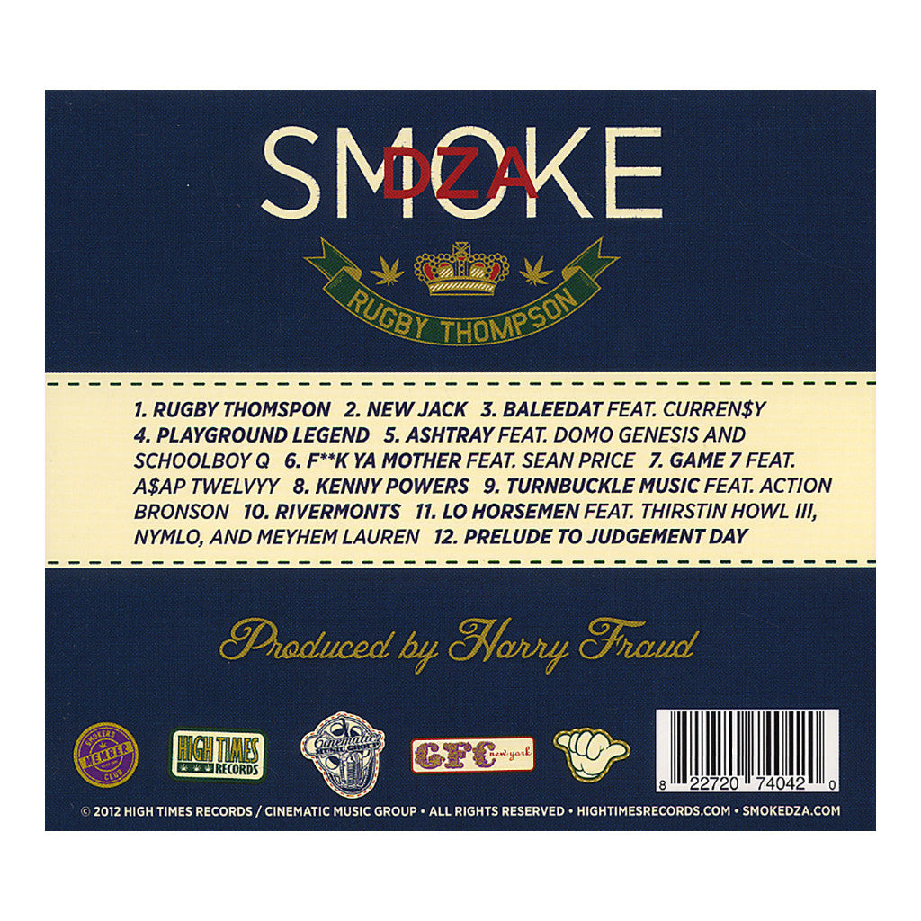<!--2012062633-->Smoke DZA w/ Harry Fraud - 'Rugby Thompson' [CD]