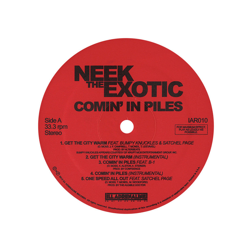 <!--120130219050830-->Neek The Exotic - 'Comin' In Piles' [(Black) Vinyl EP]