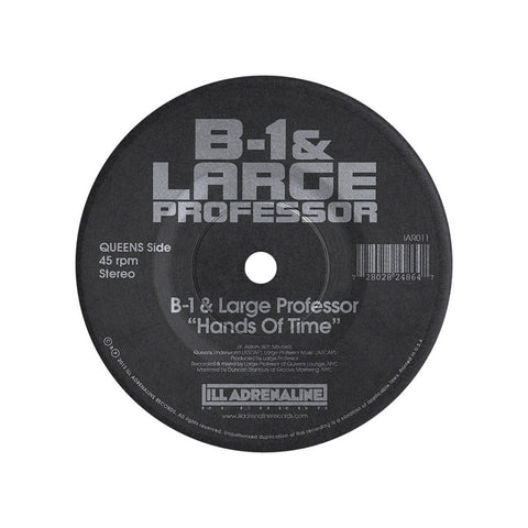 "B-1 & Large Professor b/w O.C. & Da Beatminerz - 'Hands Of Time b/w Spitgame' [(Black) 7"""" Vinyl Single]"