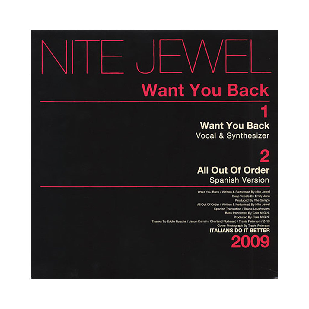 "<!--020090818011792-->Nite Jewel - 'Want You Back/ All Out Of Order/ All Out Of Order (Spanish Version)' [(Black) 12"" Vinyl Single]"