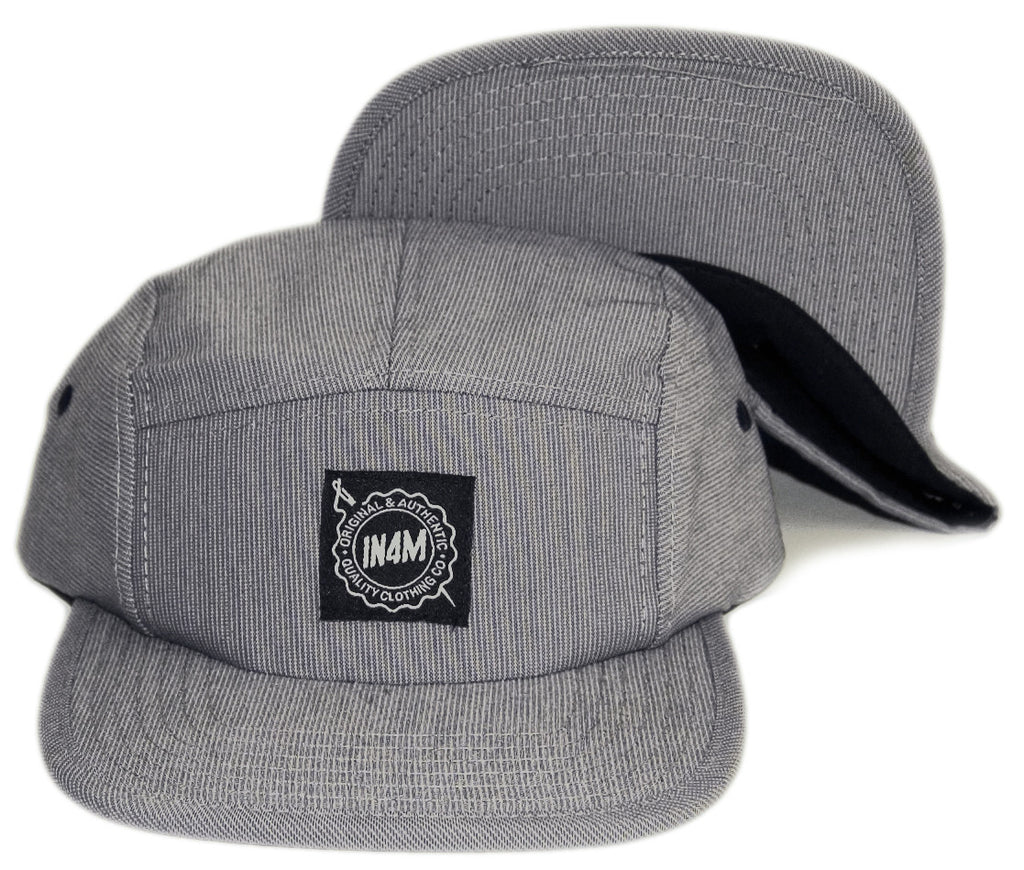 <!--020131022060874-->In4mation - 'Striped Chambray' [(Gray) Five Panel Camper Hat]