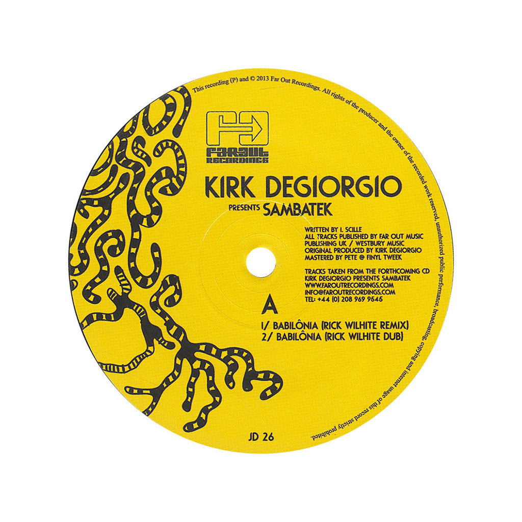 "<!--2013060459-->Kirk Degiorgio Presents - 'Sambatek: The Remixes Vol. 1' [(Black) 12"" Vinyl Single]"