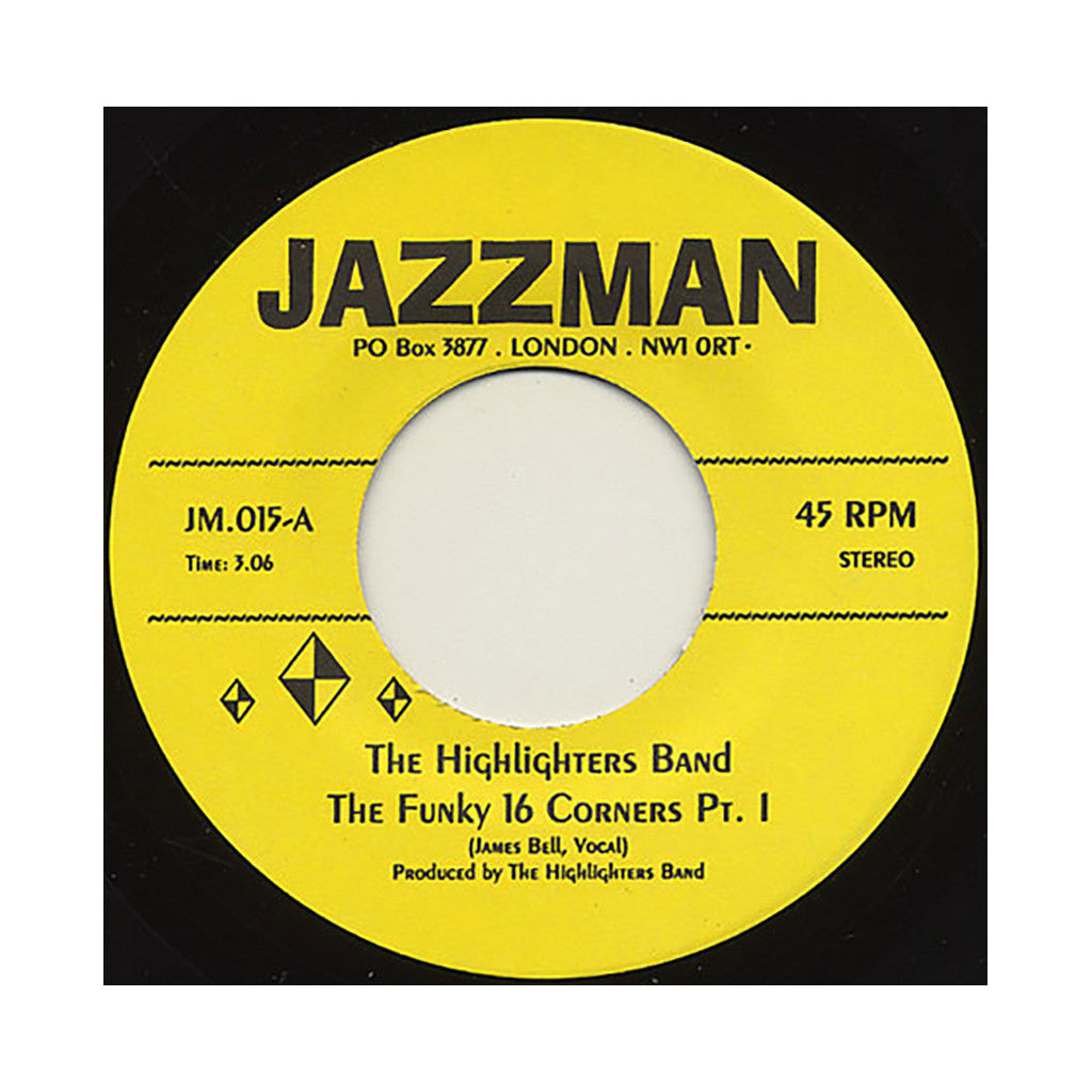 "The Highlighters Band - 'The Funky 16 Corners Pts. I & II' [(Black) 7"" Vinyl Single]"