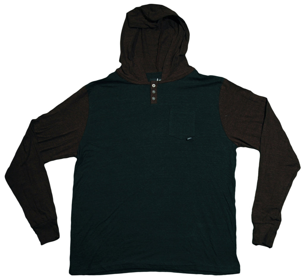 <!--2013072324-->JSLV - 'Tre Hooded Henley' [(Dark Green) Long Sleeve Shirt]