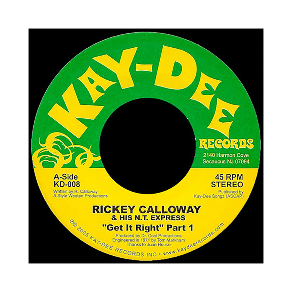 "Rickey Calloway & His N.T. Express - 'Get It Right Pts. 1 & 2' [(Black) 7"" Vinyl Single]"