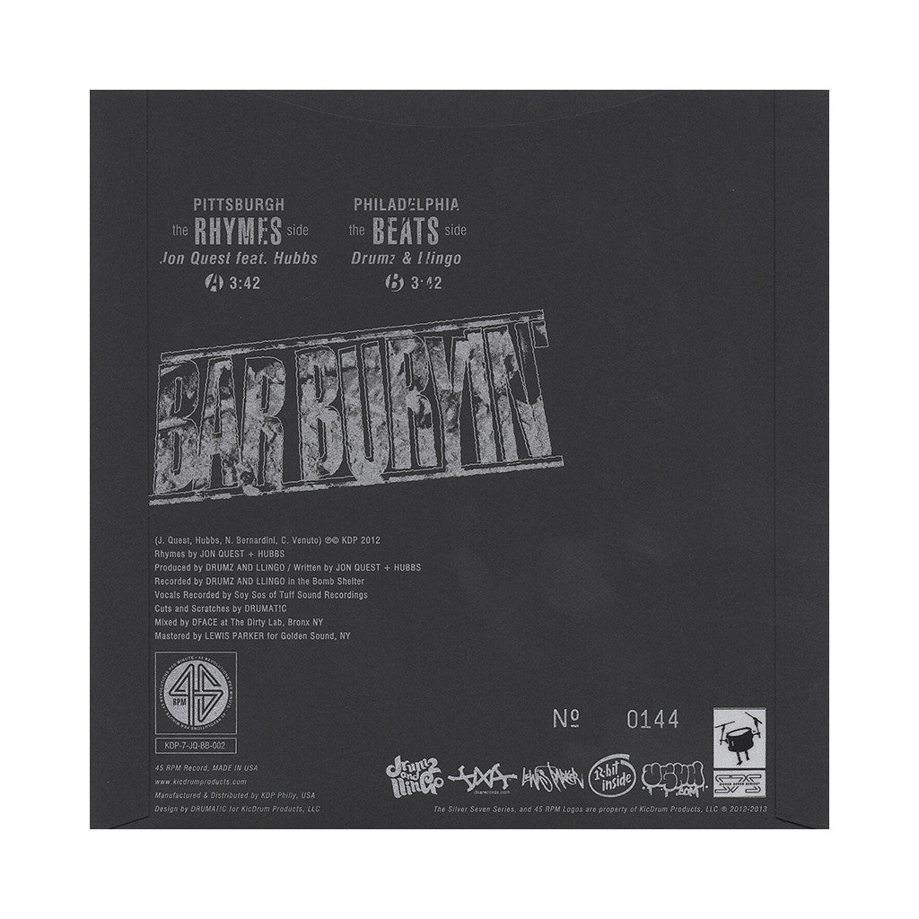 "<!--020130115049120-->Jon Quest - 'Bar Buryin'' [(Black) 7"""" Vinyl Single]"
