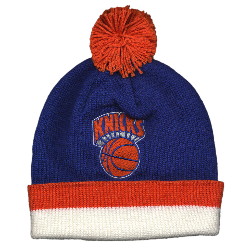 <!--020140910065790-->Mitchell & Ness x NBA - 'New York Knicks - NBA Jersey Stripe Cuffed Knit w/ Pom' [(Blue) Winter Beanie Hat]
