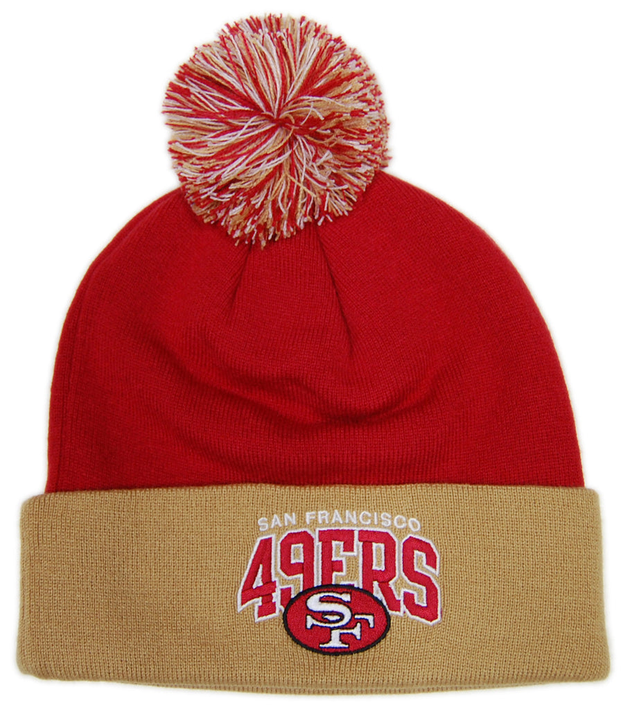 <!--020121120051402-->Mitchell & Ness x NFL - 'San Francisco 49ers - NFL Throwback Arch Logo Pom Pom' [(Red) Winter Beanie Hat]