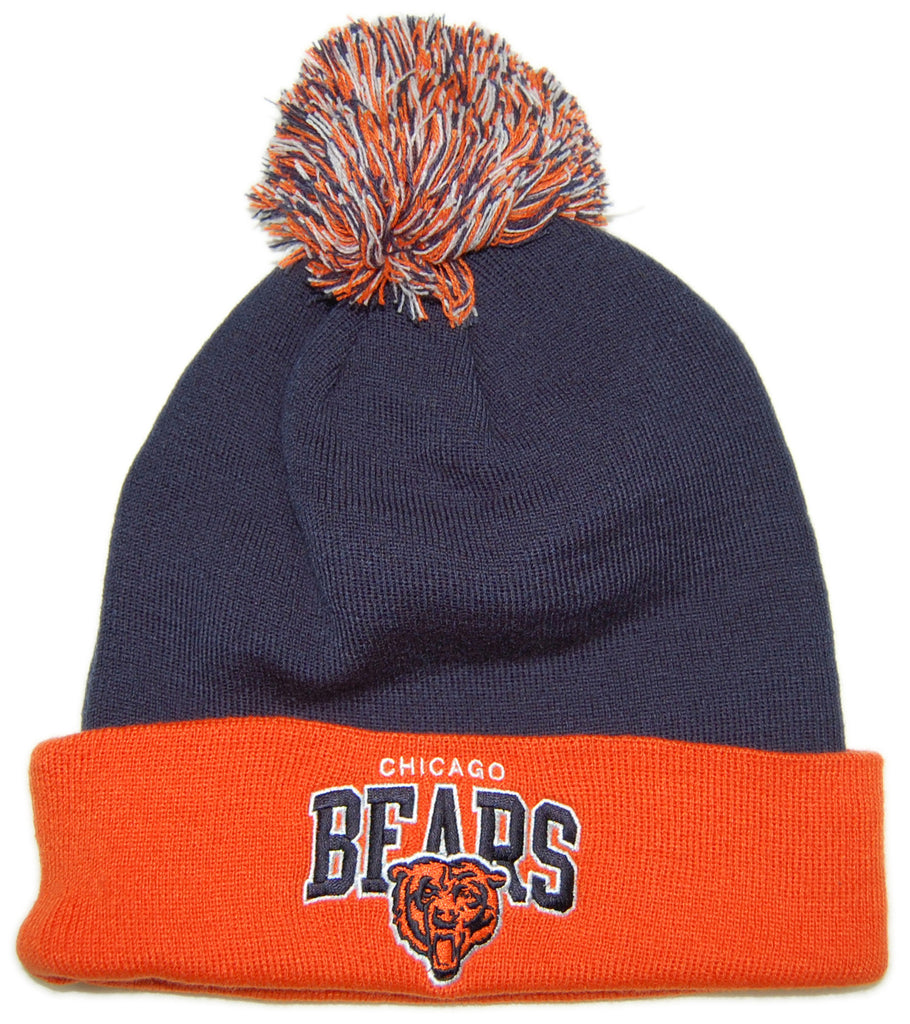 <!--020121204052165-->Mitchell & Ness x NFL - 'Chicago Bears - NFLThrowback Arch With Logo Cuffed Knit Pom' [(Dark Blue) Winter Beanie Hat]
