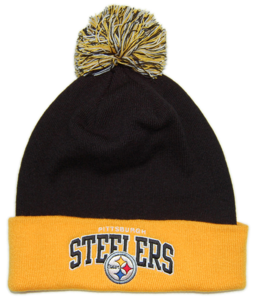 <!--020121204052163-->Mitchell & Ness x NFL - 'Pittsburgh Steelers - NFLThrowback Arch With Logo Cuffed Knit Pom' [(Black) Winter Beanie Hat]