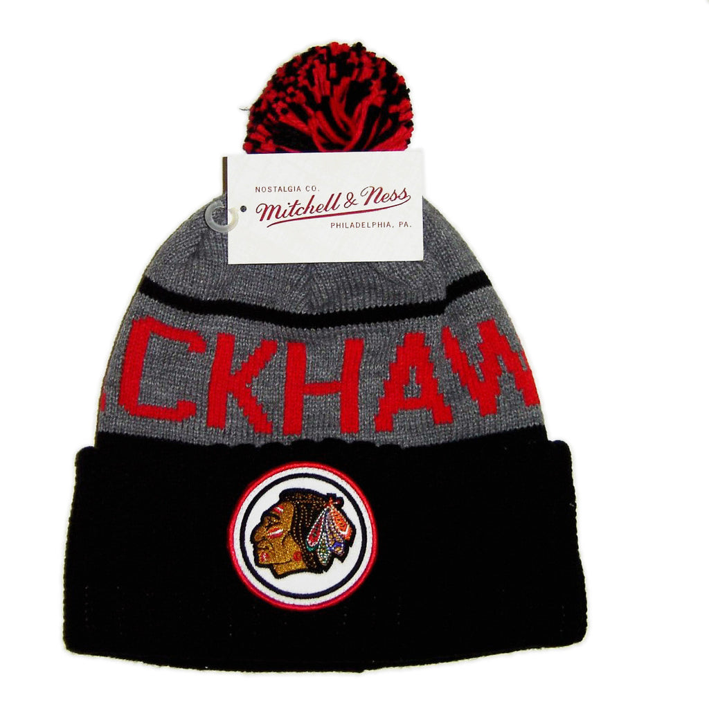 <!--020141104066814-->Mitchell & Ness x NHL - 'Chicago Blackhawks - High 5 Cuffed Knit' [(Black) Winter Beanie Hat]