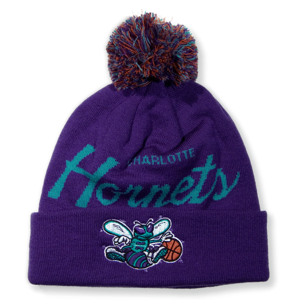 <!--020131213061878-->Mitchell & Ness x NBA - 'Charlotte Hornets - NBA HWC Script Cuffed Pom Knit' [(Purple) Winter Beanie Hat]