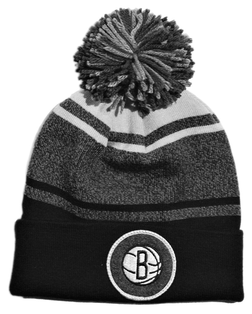<!--020131022060607-->Mitchell & Ness x NBA - 'Brooklyn Nets - NBA Current Logo Heather Stripe Cuffed Knit Pom' [(Black) Winter Beanie Hat]