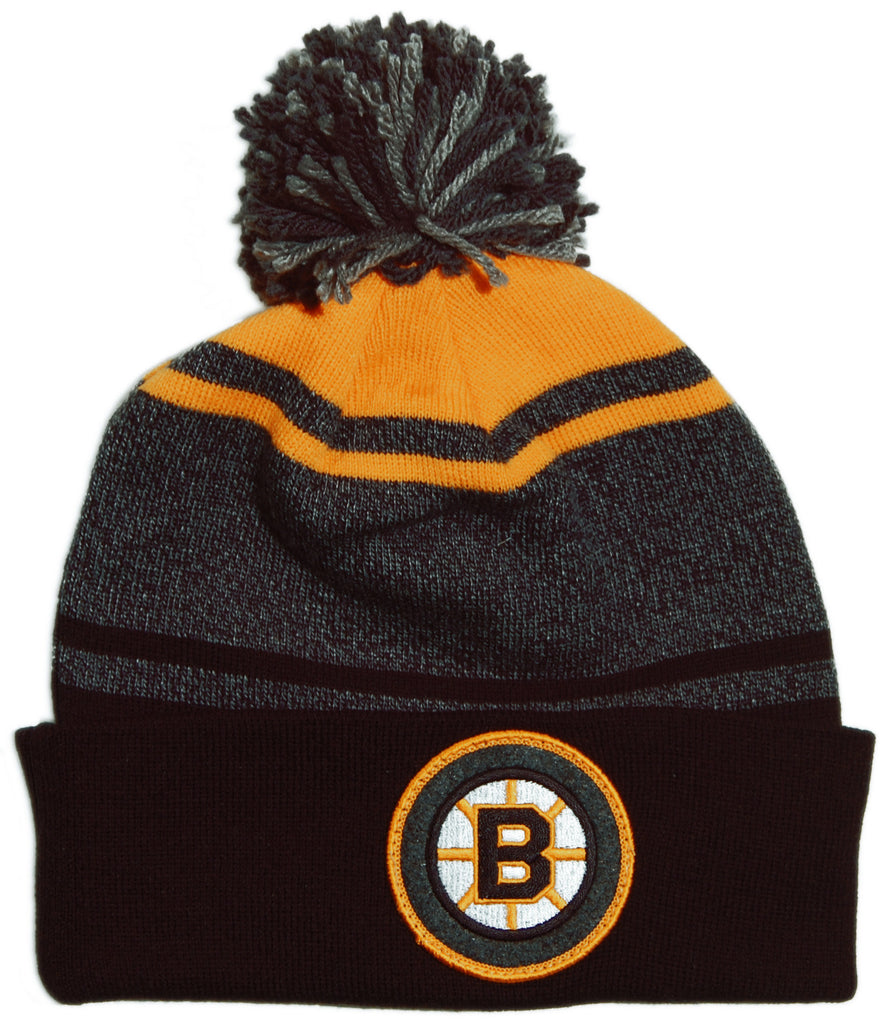 <!--020131022060554-->Mitchell & Ness x NHL - 'Boston Bruins - NHL Vintage Heather Stripe Cuffed Knit Pom' [(Black) Winter Beanie Hat]