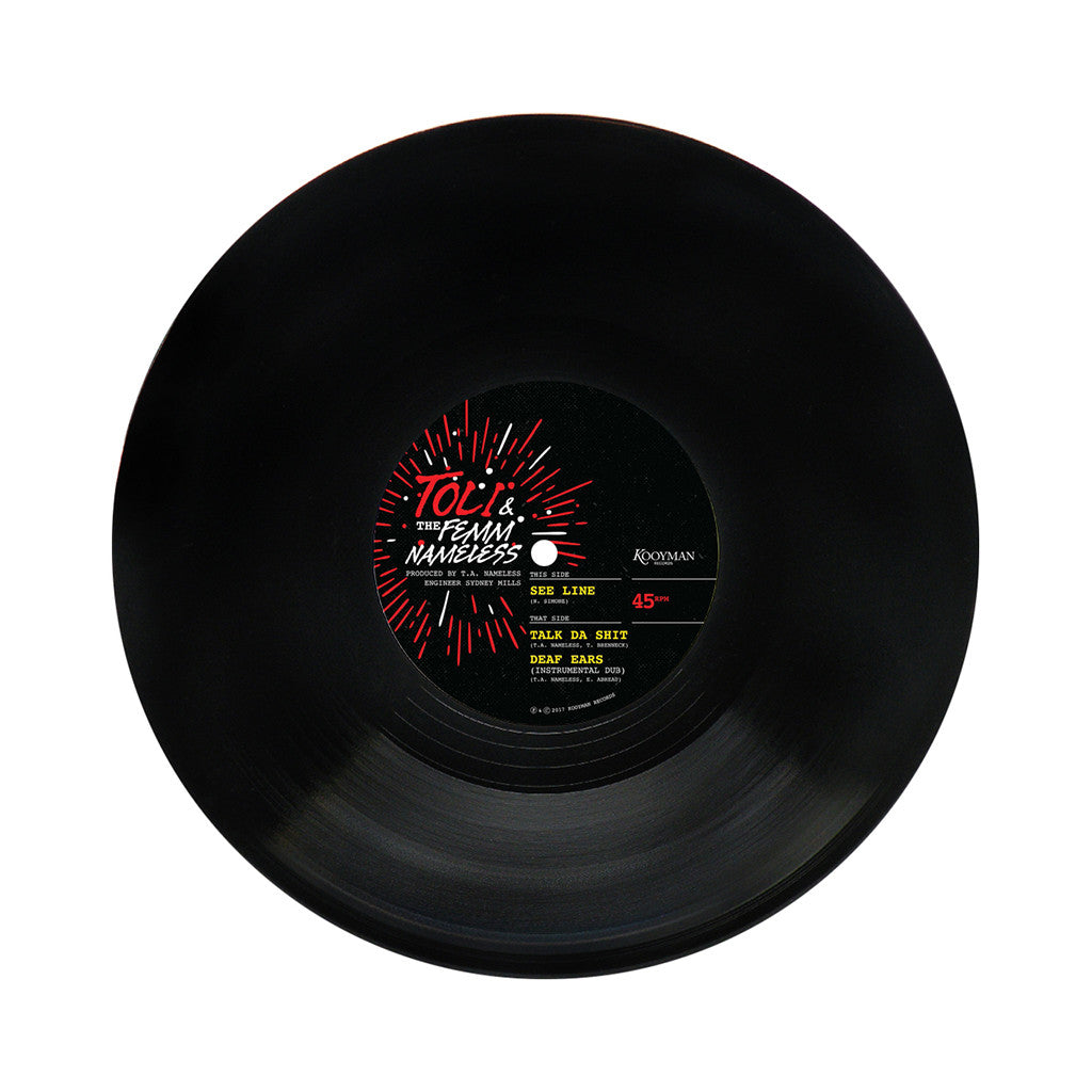 "Toli & The Femm Nameless - 'See Line/ Talk Da Shit/ Deaf Ears' [(Black) 10"" Vinyl Single]"