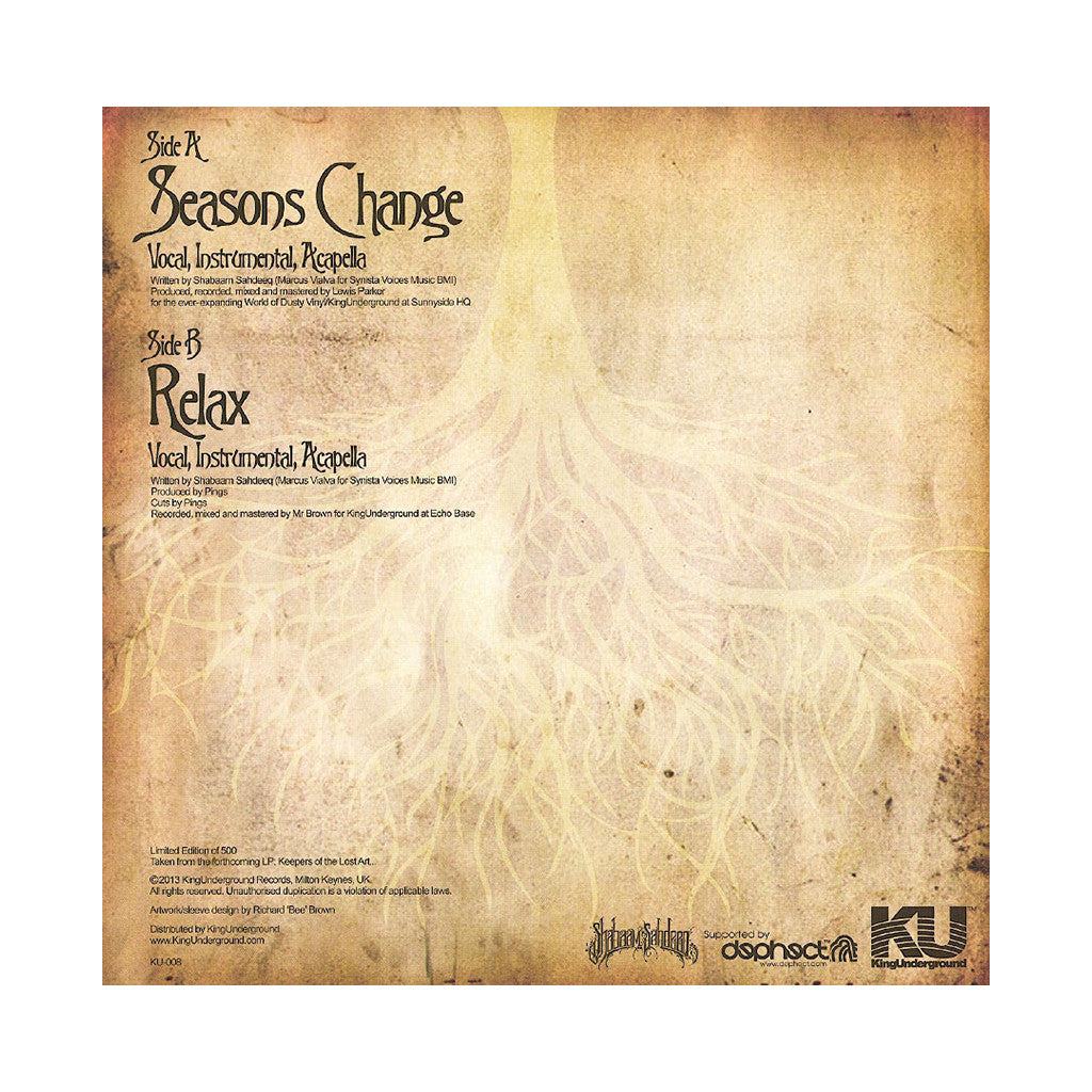 "<!--120130924059243-->Shabaam Sahdeeq - 'Seasons Change/ Relax' [(Black) 12"" Vinyl Single]"