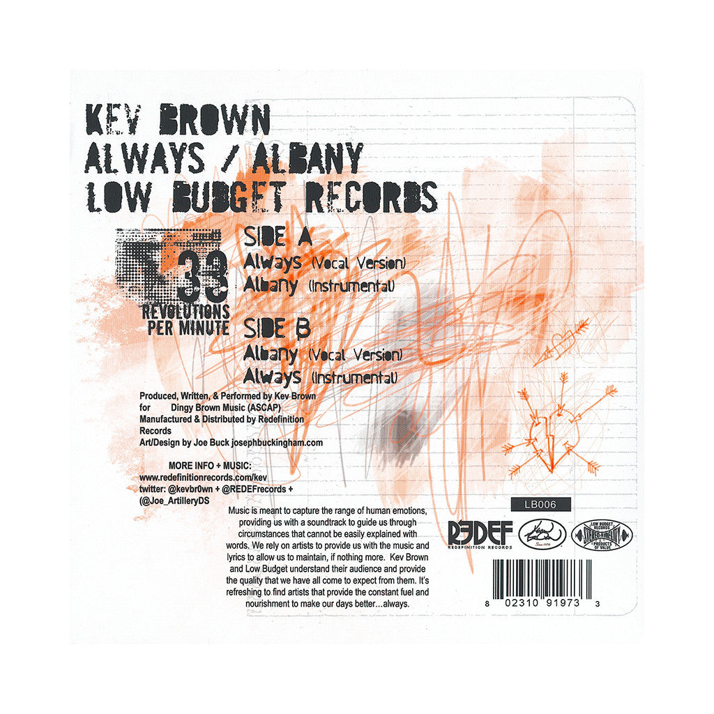 "<!--120121211052202-->Kev Brown - 'Always/ Albany' [(Red & White Split) 7"" Vinyl Single]"