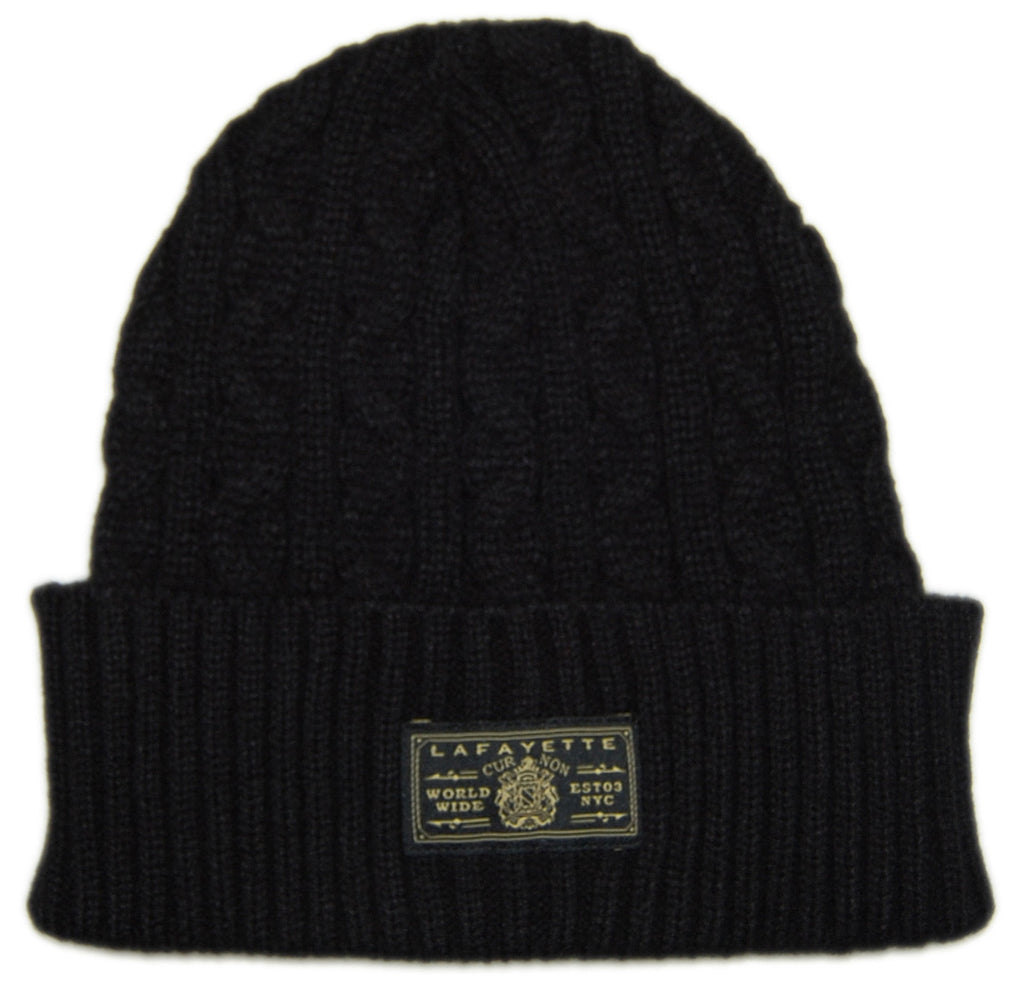 <!--020121204052198-->Lafayette - 'Solid Cable' [(Black) Winter Beanie Hat]