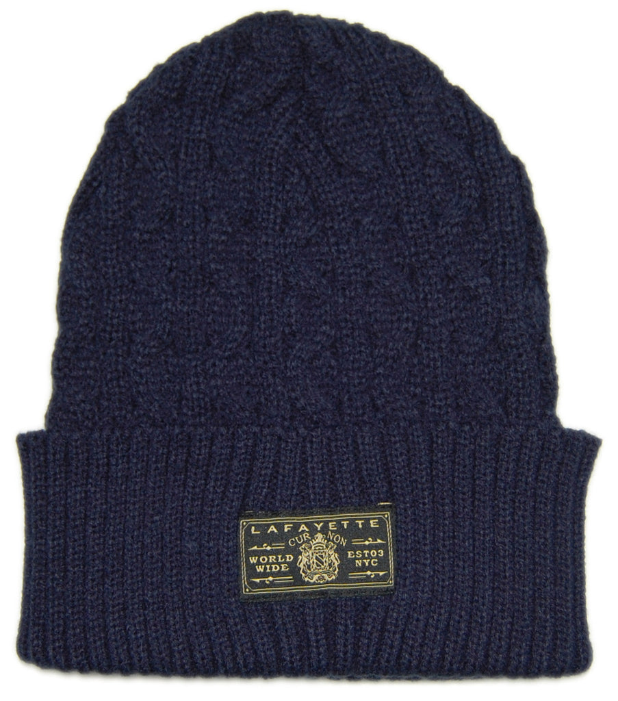 <!--020121204052197-->Lafayette - 'Solid Cable' [(Dark Blue) Winter Beanie Hat]