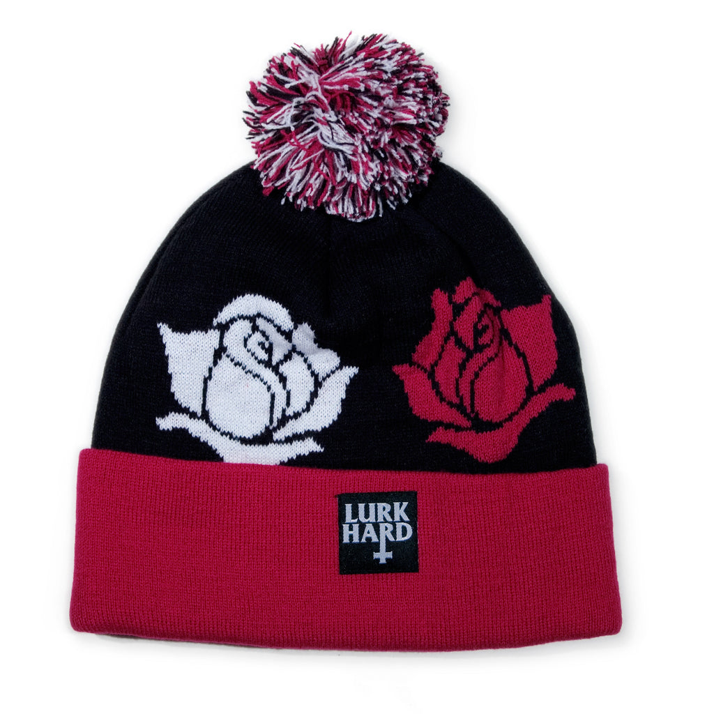<!--020131126061520-->Lurk Hard - 'Roses Pom' [(Black) Winter Beanie Hat]