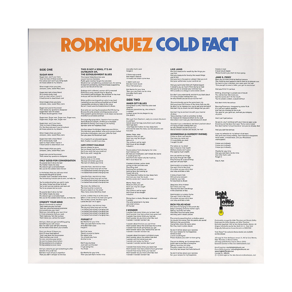<!--120120821047612-->Rodriguez - 'Cold Fact' [(Black) Vinyl LP]
