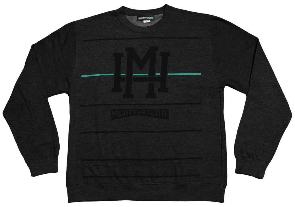 Mighty Healthy - 'Stripes' [(Dark Gray) Crewneck Sweatshirt]