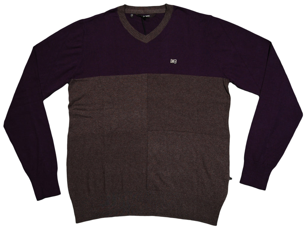 <!--2012092522-->Makia - 'Check V-Neck Knit - Navy/ Charcoal' [(Dark Blue) Sweater]