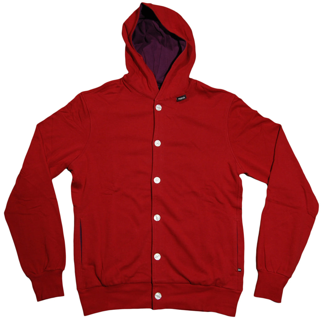 <!--2011110138-->Makia - 'Button Up Hooded' [(Dark Red) Hooded Sweatshirt]