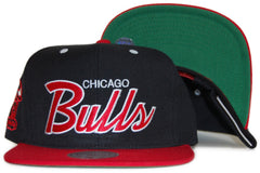 <!--020111213039063-->Mitchell & Ness x NBA - 'Chicago Bulls: HWC Script NBA Logo' [(Black) Snap Back Hat]