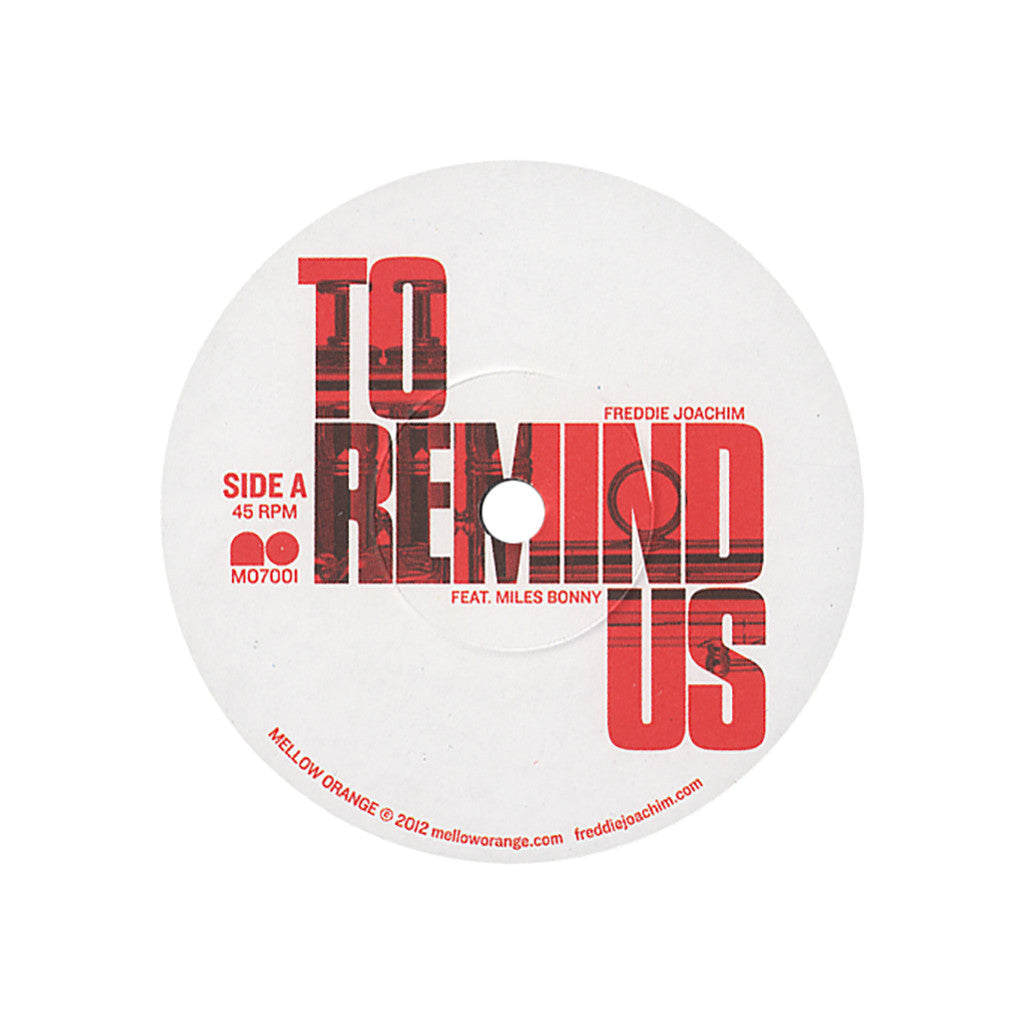 "Freddie Joachim - 'To Remind Us/ Talk' [(Black) 7"" Vinyl Single]"