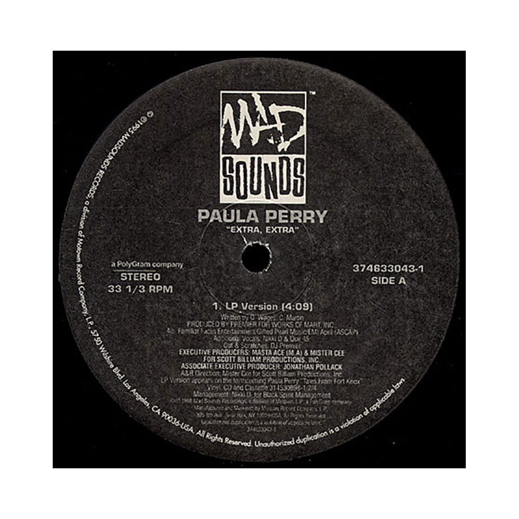 "Paula Perry - 'Extra, Extra' [(Black) 12"" Vinyl Single]"