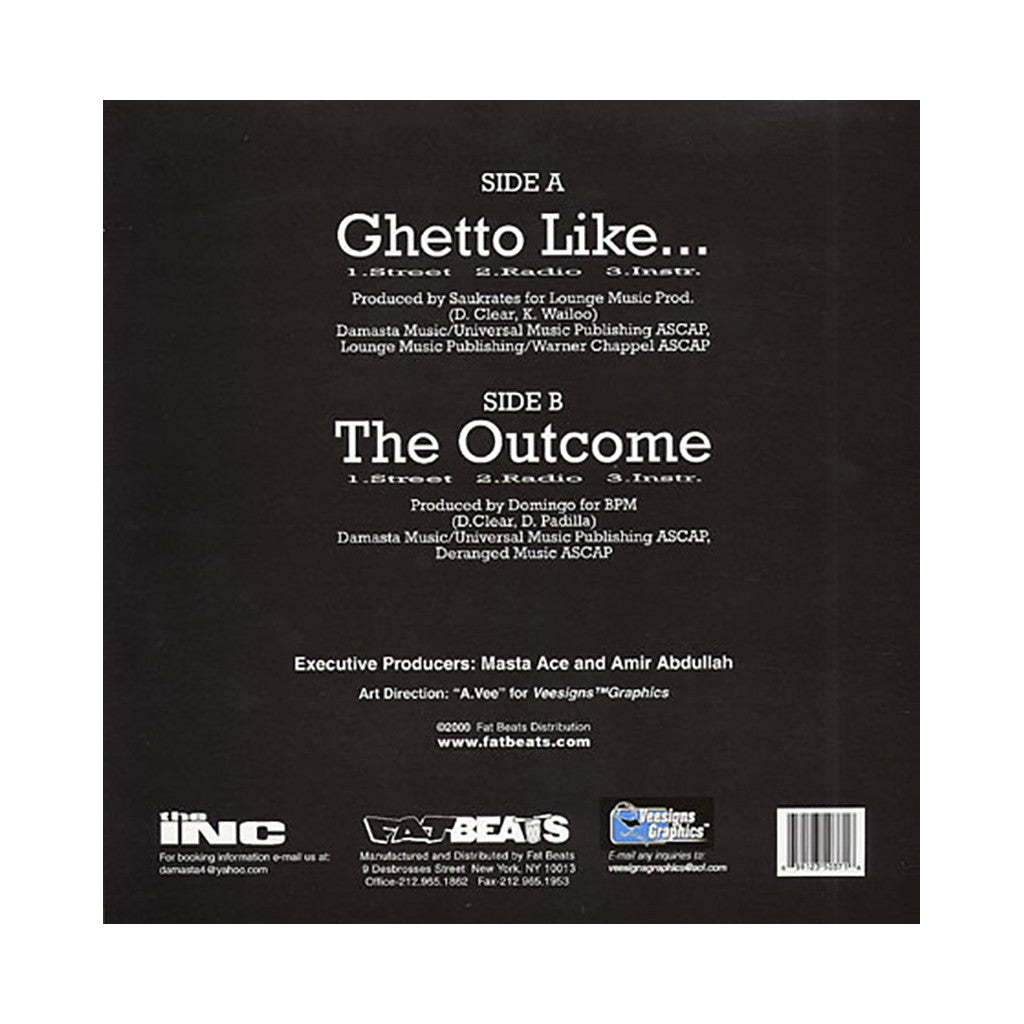 "<!--020001031011910-->Masta Ace - 'Ghetto Like/ The Outcome' [(Black) 12"""" Vinyl Single]"