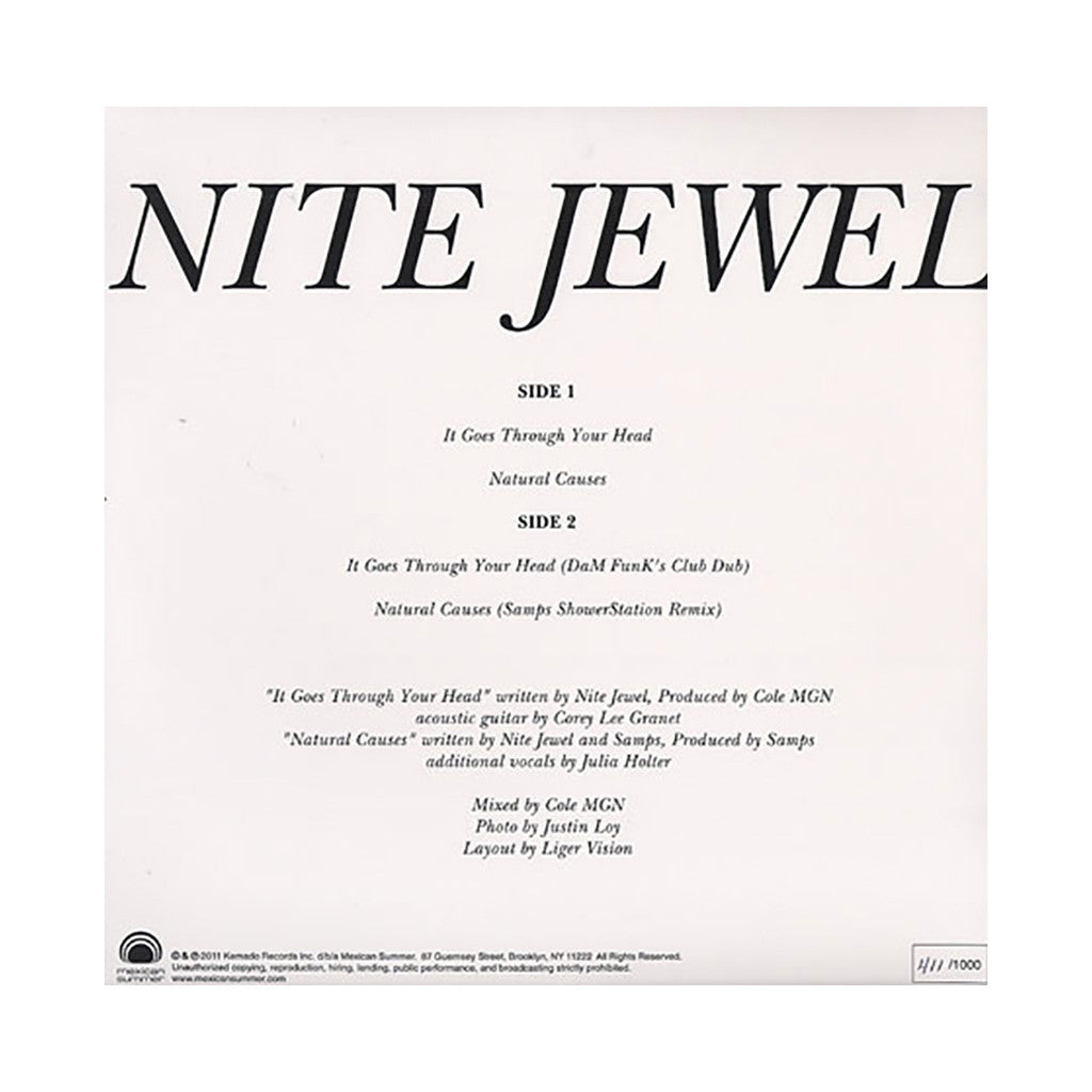 "<!--120110830034483-->Nite Jewel - 'It Goes Through Your Head/ Natural Causes' [(Black) 12"" Vinyl Single]"