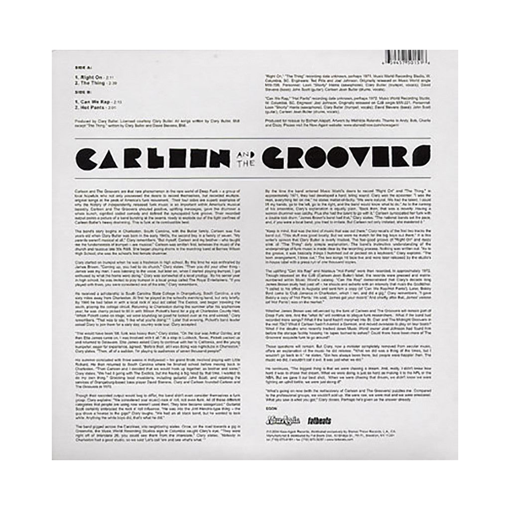 "Carleen & The Groovers - 'Right On/ The Thing/ Can We Rap/ Hot Pants' [(Black) 12"" Vinyl Single]"
