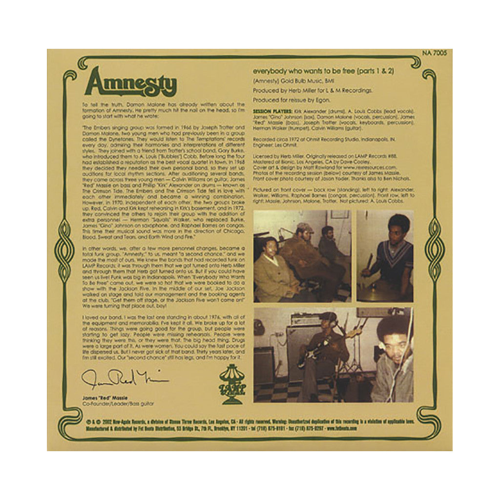 "<!--020030211004762-->Amnesty - 'Everybody Who Wants To Be Free (Part 1)/ Everybody Who Wants To Be Free (Part 2)' [(Black) 7"" Vinyl Single]"