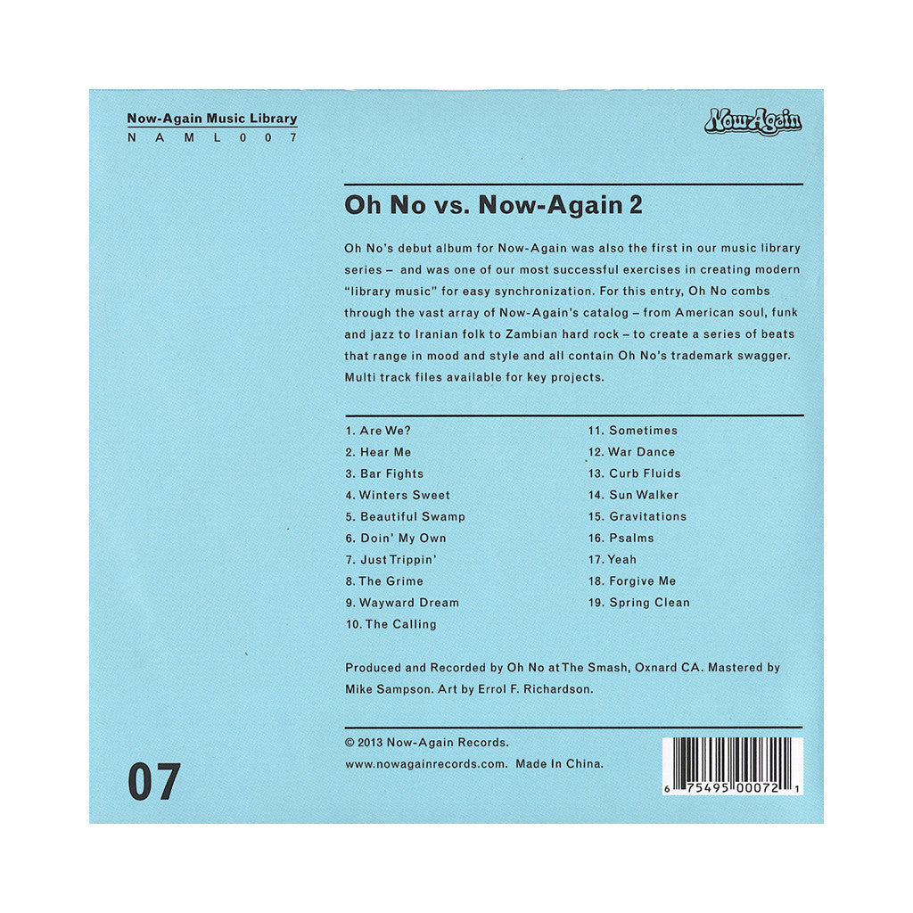 <!--2013082729-->Oh No - 'Oh No Vs. Now-Again 2: Now-Again Music Library Vol. 7' [CD]