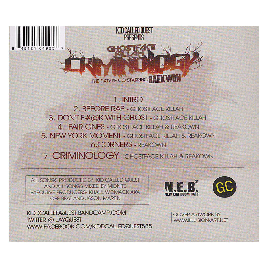 <!--2012070337-->Kidd Called Quest (aka Jay Quest) Presents Ghostface Killah (of Wu-Tang Clan) w/ Raekwon - 'Criminology: The Fixtape EP' [CD]