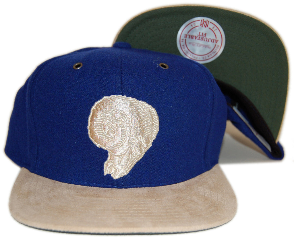 <!--020121120051416-->Mitchell & Ness x NFL - 'Los Angeles Rams - NFL Throwback Winter Suede' [(Blue) Strap Back Hat]