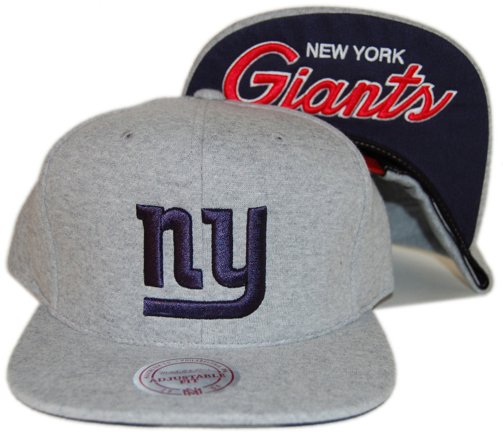 <!--020130618057567-->Mitchell & Ness x NFL - 'New York Giants - Heathered Fleece Script' [(Gray) Snap Back Hat]