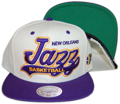 <!--020130416055803-->Mitchell & Ness x NBA - 'New Orleans Jazz - NBA Script Tailsweeper' [(Blue) Snap Back Hat]