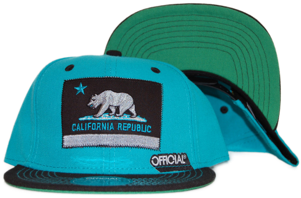 <!--020110920036108-->Official - 'Cali Teal' [(Light Blue) Snap Back Hat]