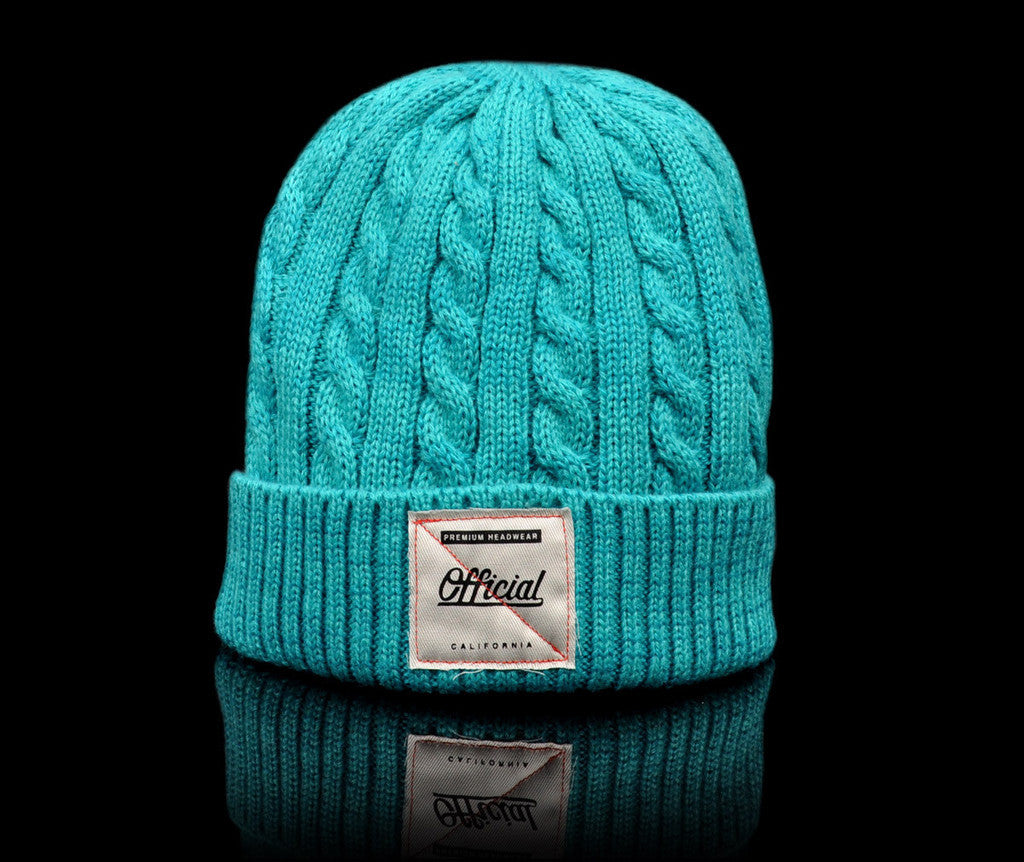 <!--020140808065100-->Official - 'Cable Knit - Teal' [(Light Green) Winter Beanie Hat]