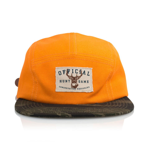 "[""Official - 'Hunt Game' [(Orange) Five Panel Camper Hat]""]"