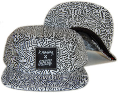 Official x Keith Haring - 'K. Haring Collab - All Over' [(White) Five Panel Camper Hat]
