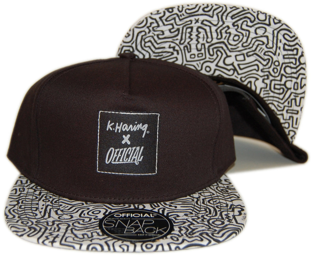 <!--2012120437-->Official x Keith Haring - 'K. Haring Collab - Black/ White' [(Black) Strap Back Hat]