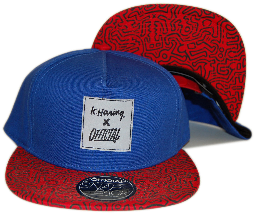 Official x Keith Haring - 'K. Haring Collab - Blue/ Red' [(Blue) Snap Back Hat]